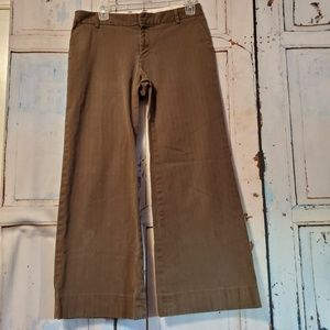 Gap Chocolate Brown Stripe Pant Size 4 Ankle Flare